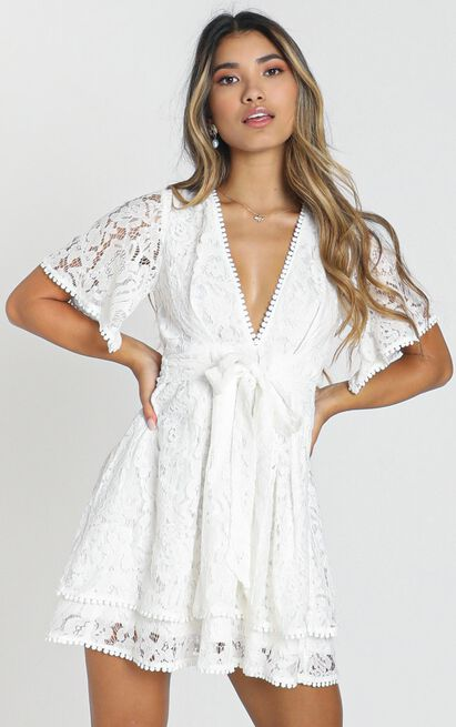 Do You Miss Me Dress in white lace - 20 (XXXXL), White, hi-res image number null
