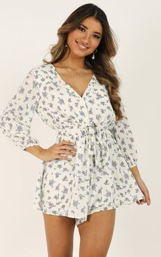 Forever Spirited Playsuit In White Floral
