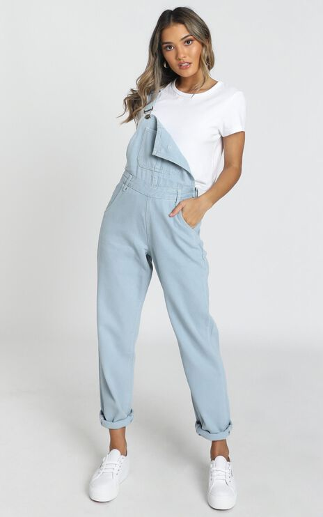 Kiera Denim Overalls In Blue Wash