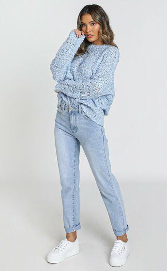 Margie Textured Knit Jumper in Blue