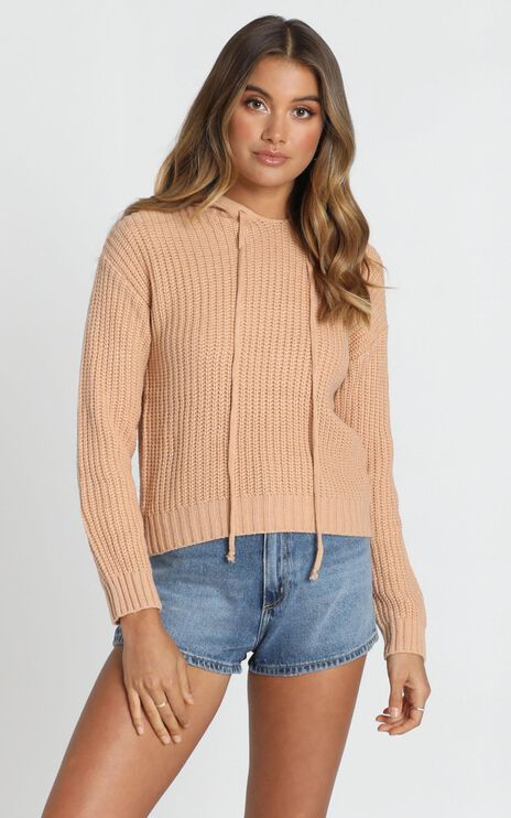 Only Love Hooded Knit Jumper In Tan