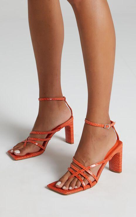 Public Desire - Charms Heels in Orange Croc