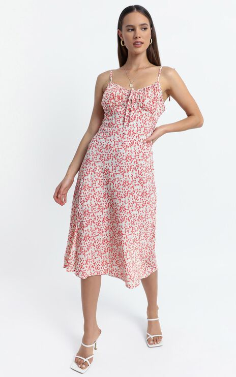 California Dress in Red Floral