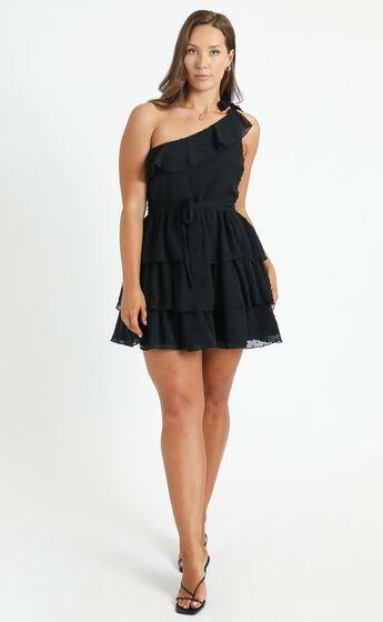 Darling I Am A Daydream One Shoulder Ruffle Mini Dress in Black
