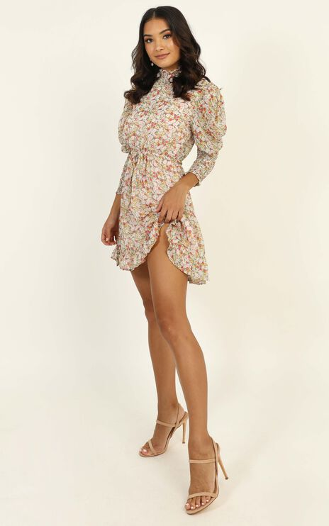 Sweetest Thing High Neck Mini Dress In Multi Floral