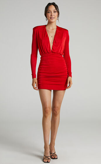 Kaitie Mini Deep V Open Front Ruched Dress in Red
