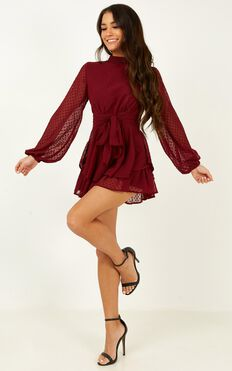 Bottom Of Your Heart Playsuit In Wine