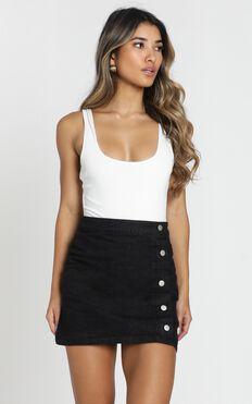 Crazy Feeling Denim Skirt In Black Wash