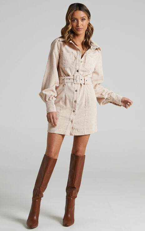 Lida Mini Longsleeve Belted Corduroy Dress in Cream