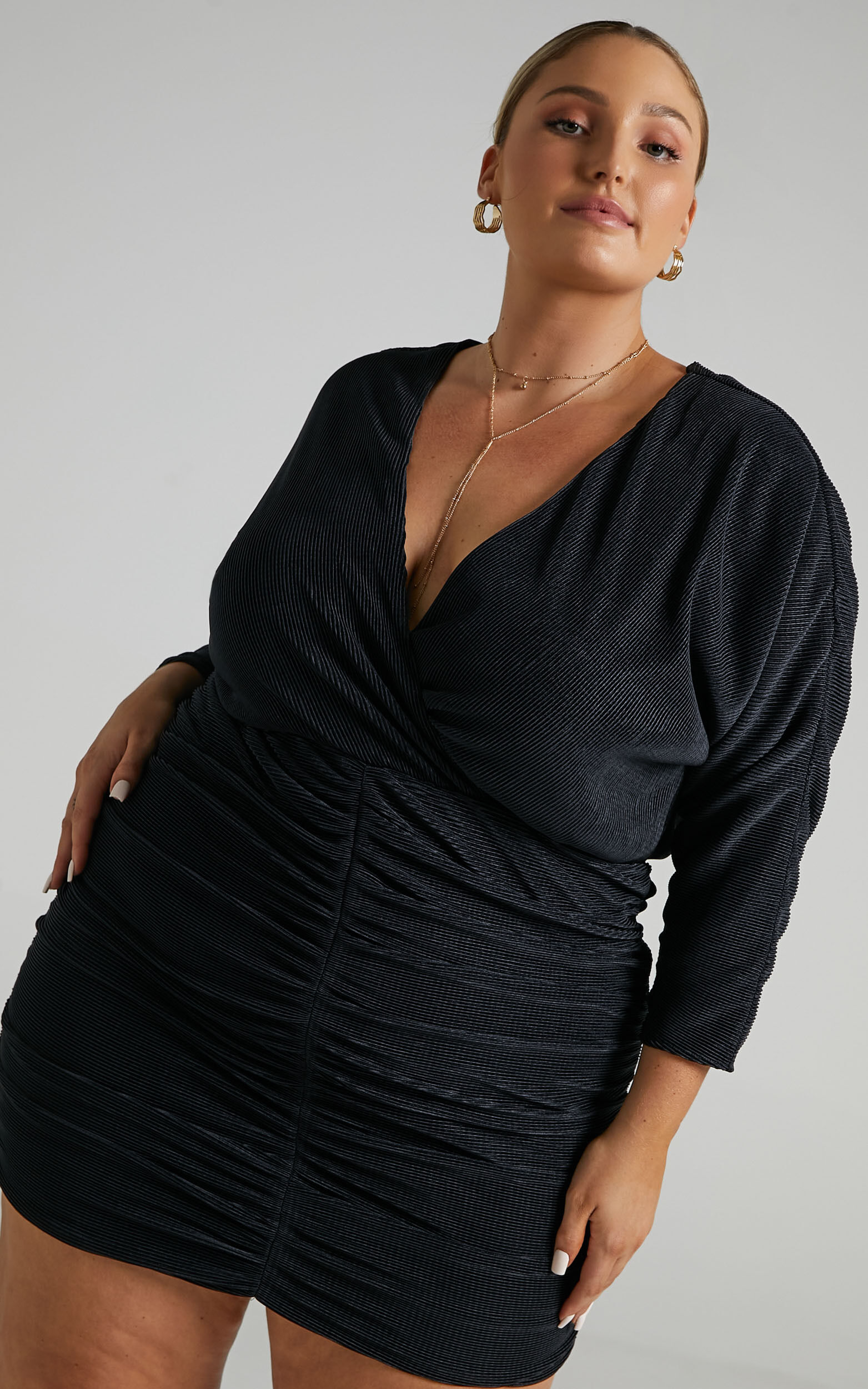 Axton Pleated Plunge Neckline Mini Dress in Black - 04, BLK1, super-hi-res image number null