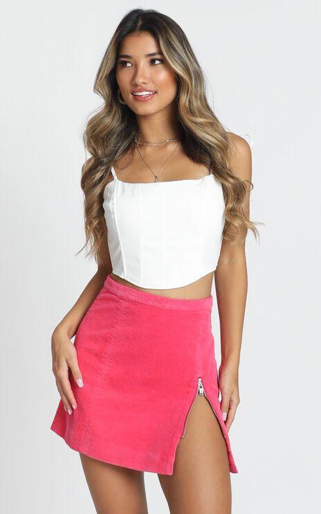 Leslie Corduroy Skirt In Hot Pink