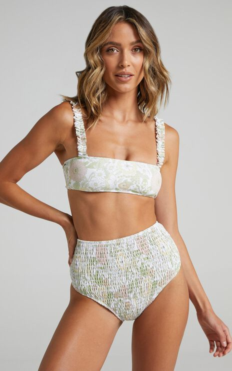 Charlie Holiday - Newport Smocked Brief in Forest Olive Floral