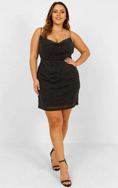 Explain It To Me Dress In Black Lurex - 20 (XXXXL), Black, hi-res image number null