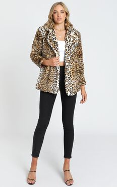 Eugenia Faux Fur Coat in Leopard Print