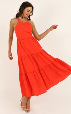 Missing Pieces Dress In  Tangerine