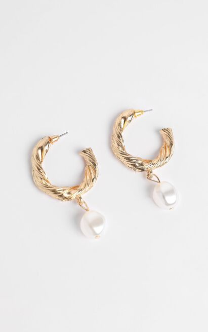 JT Luxe - Portofino Pearl Drop Earrings in Gold, , hi-res image number null