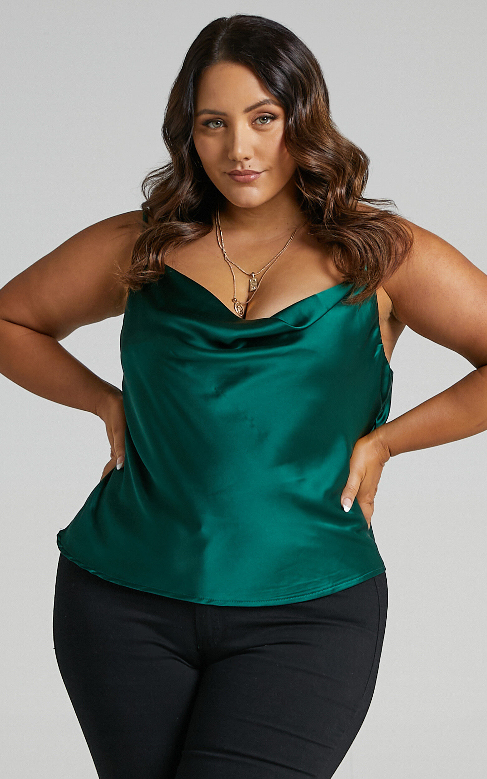 Straight Line Top in Emerald Satin - 20, GRN2, super-hi-res image number null