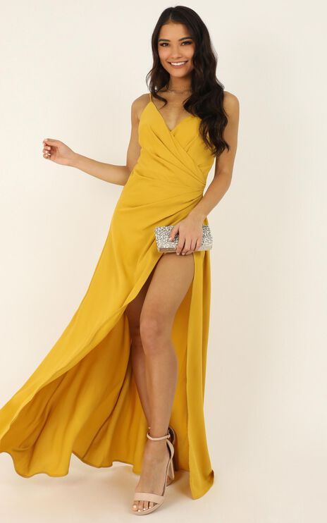Split Decision Maxi Playsuit In Marigold