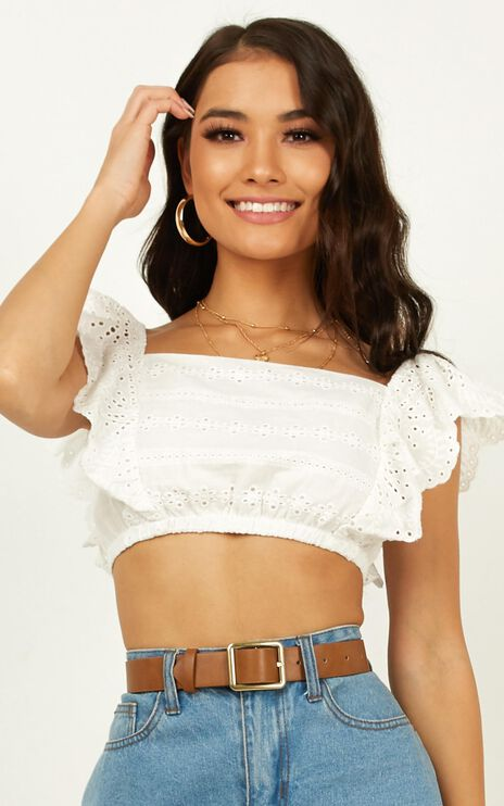 Angel In Disguise Top In White Embroidery