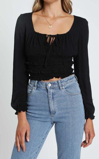 Eugenie Long Sleeve Top in Black - 6 (XS), Black, hi-res image number null