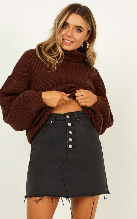 Nowhere To Be Found Denim Skirt In Black Wash