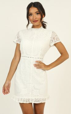 Everything Is Fabulous Dress In White Lace