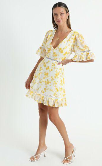 My Darkest Night Dress in Yellow Floral