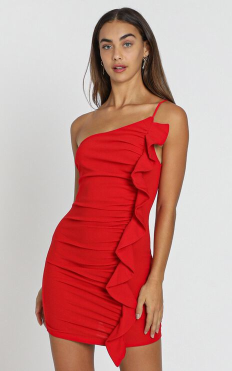 Angelina Bodycon Frill Dress in Red