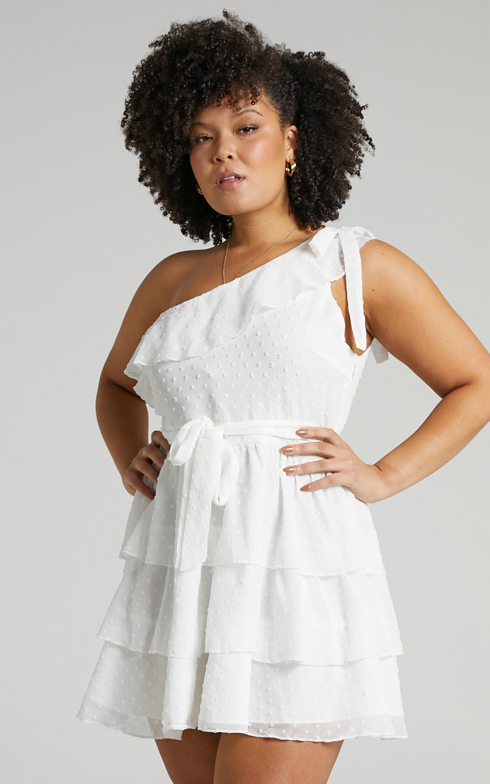 Darling I Am A Daydream One Shoulder Ruffle Mini Dress in White - 20, WHT7, super-hi-res image number null