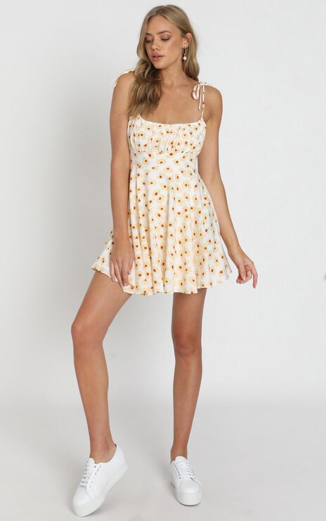 Summer Jam Dress In White Floral