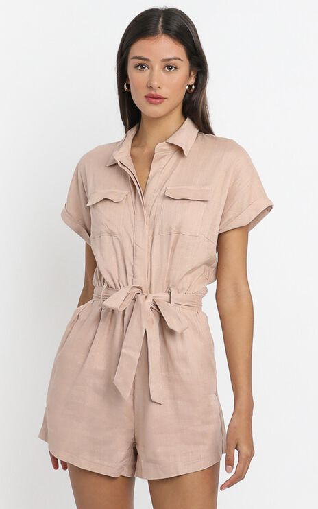 Zarina Belted Playsuit in Blush