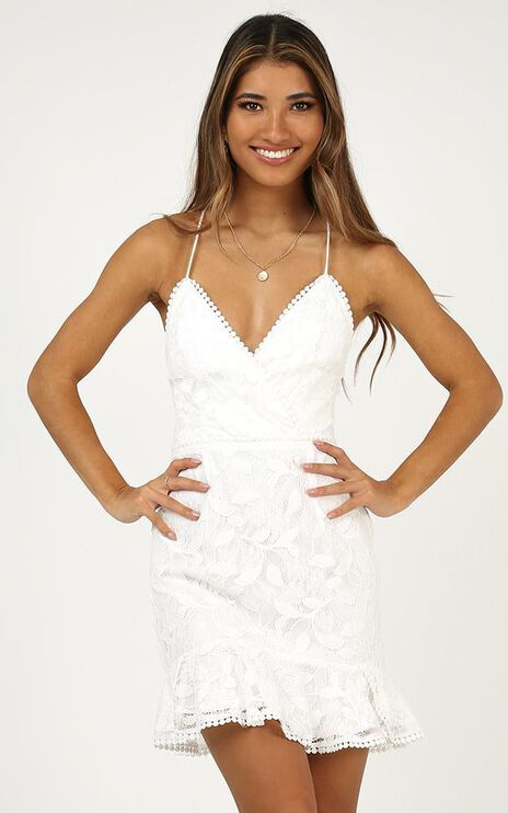 Find My Feet Dress In White Lace