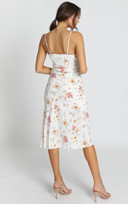 Rushing Back Dress In White Floral - 12 (L), White, hi-res image number null