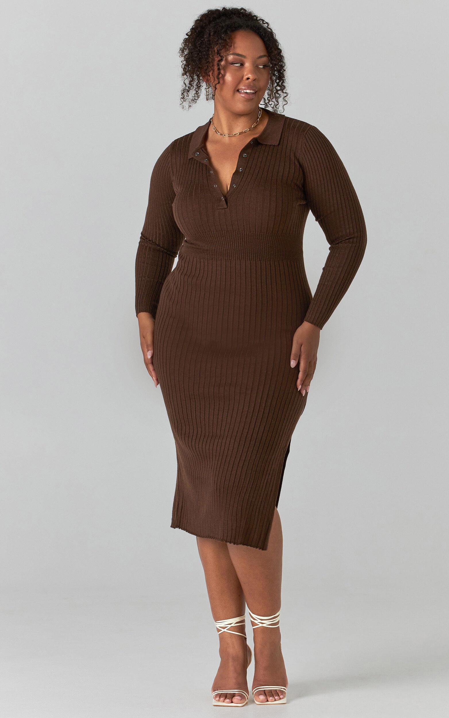 Ellidy Collared Midi Knit Dress in Dark Chocolate Brown - 20, BRN1, super-hi-res image number null
