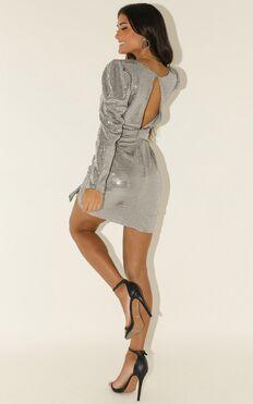 Running Around Dress In Silver Sequin