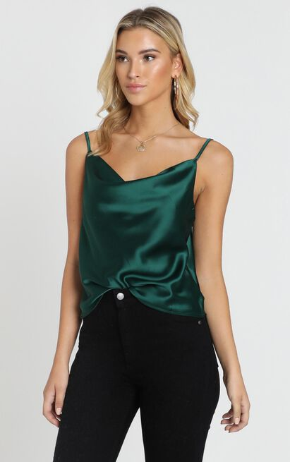 Straight Line top in emerald satin - 20 (XXXXL), Green, hi-res image number null