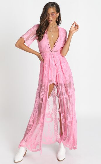 Now Shes Got It Playsuit In Pink Lace