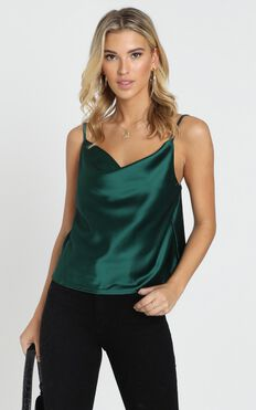 Straight Line Top in Emerald Satin