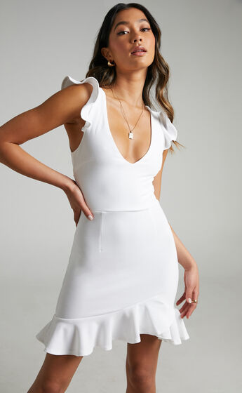 Belize Frill Mini Dress with Back Detailing in White