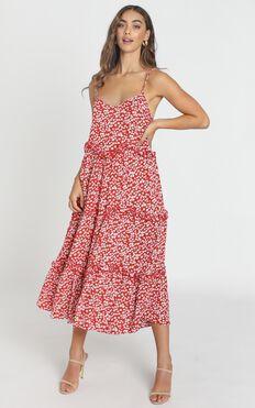 Ferne Dress In Red Floral