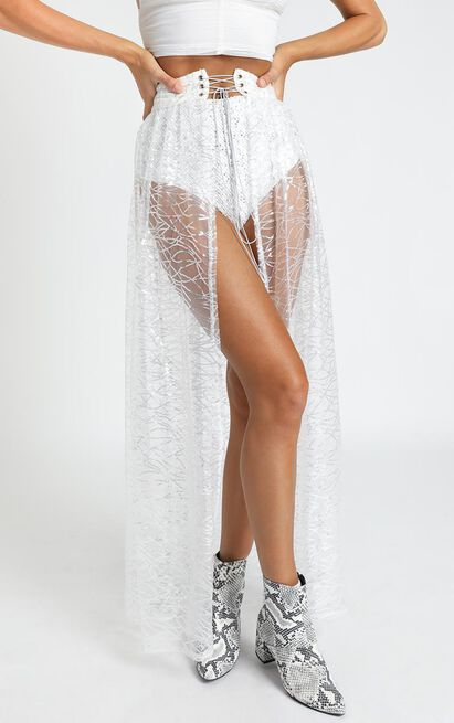 It Might Be Time Skirt in silver sequin - 20 (XXXXL), Silver, hi-res image number null