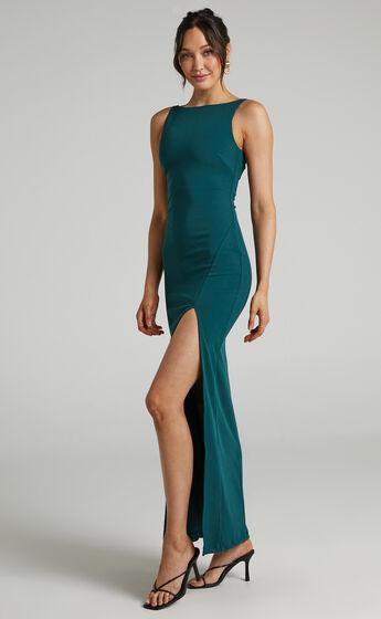 Indi Boat Neck Bodycon Maxi Dress in Emerald