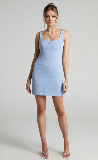 Charley Bustier Mini Dress with Panelling in Cornflower Blue