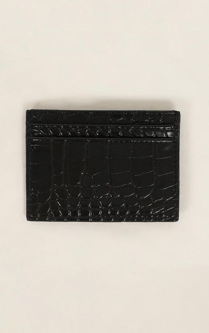 Peta and Jain - Izzy Card Holder In Black Croc, Black, hi-res image number null