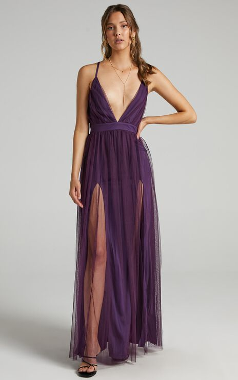 Like A Vision Dress In Aubergine Tulle