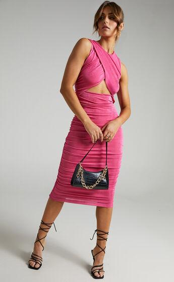 Selita Ruched High Neck Midi Dress in Hot Pink