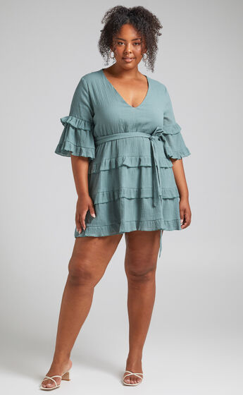 Meet Me In The Sun Tie Waist Tiered Mini Dress in Sage