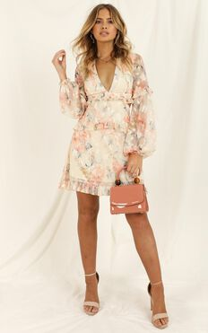 Wait On The Dance Floor Dress in Peach Floral