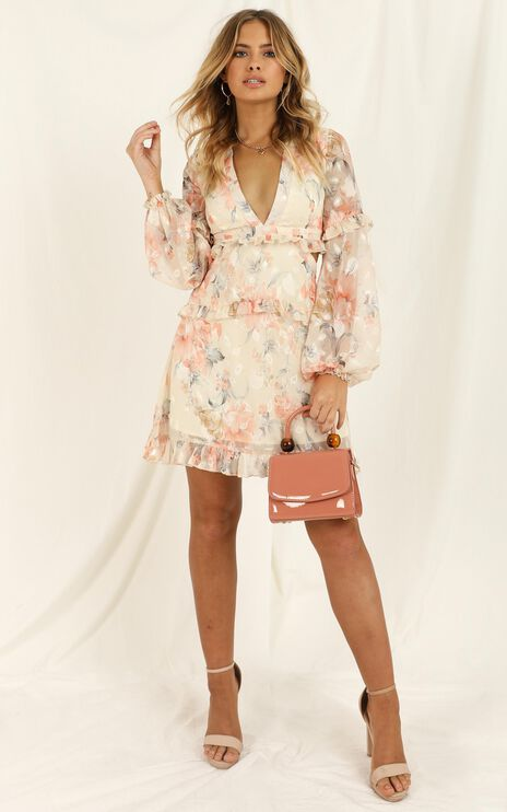 Wait On The Dance Floor Dress in Peach Floral