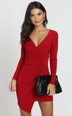 Elle Bodycon Mini Dress In Wine